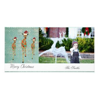 Amber & Azure Giraffes Christmas Photo Card