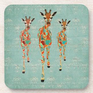 Amber Azure Giraffes Cork Coaster