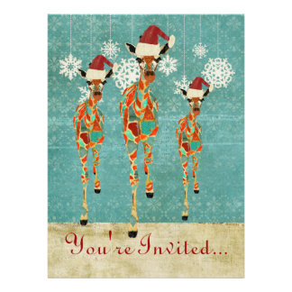 Amber Azure Giraffes Holiday Invitation
