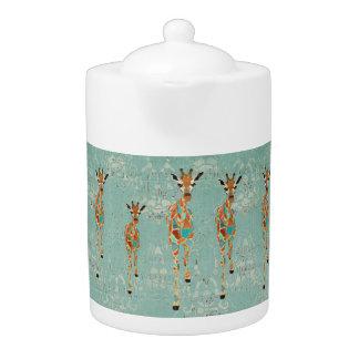 Amber & Azure Giraffes Teapot