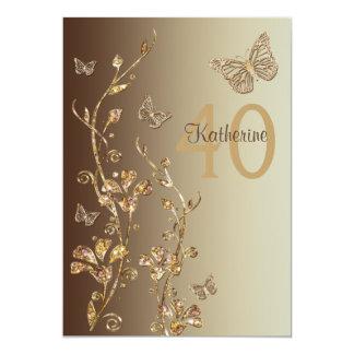 Amber, Brown Flowers & Butterflies 40th Birthday 13 Cm X 18 Cm Invitation Card