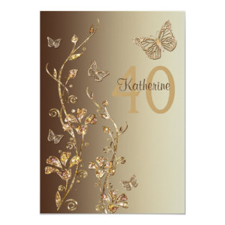 Amber, Brown Flowers & Butterflies 40th Birthday 13 Cm X 18 Cm Invitation Card