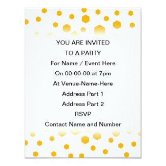 Amber Color Hexagon Dots. Invite