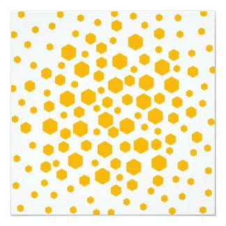 Amber Color Hexagon Dots. Invitation