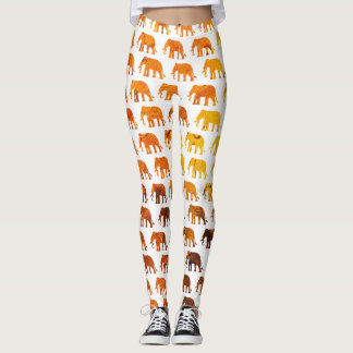 Amber elephants pattern custom background color leggings