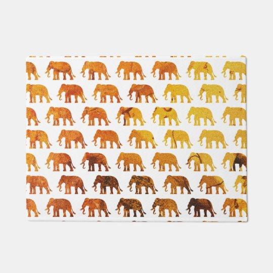 Amber elephants pattern custom background colour doormat