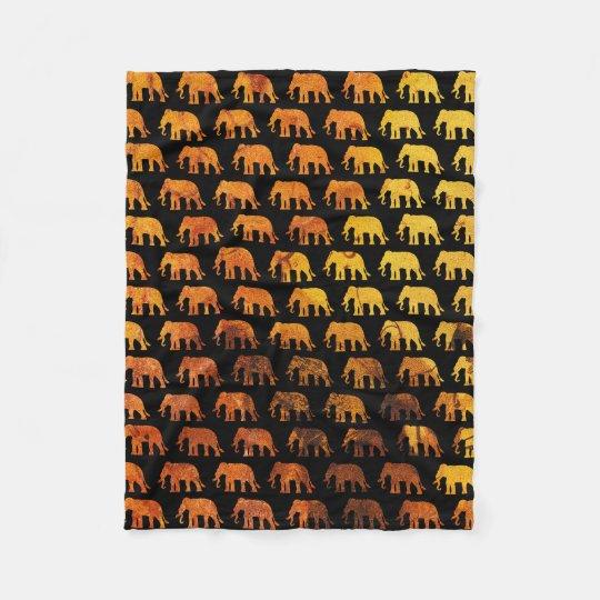 Amber elephants pattern custom background colour fleece blanket