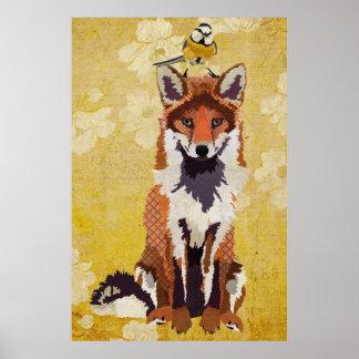 Amber Fox & Little Bird Art Poster