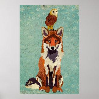 Amber Fox & Owl Art Poster