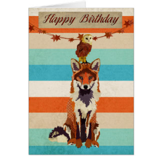 Amber Fox & Owl Birthday Card