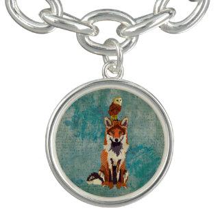Amber Fox & Owl  Blue Floral Charm Bracelet