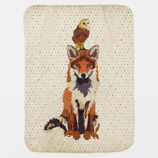 Amber Fox & Owl Polkadot Baby Blanket Stroller Blanket