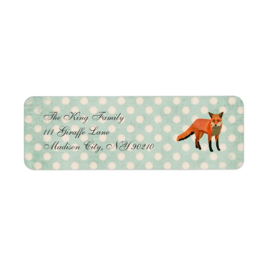 Amber Fox Polkadot   Address Label