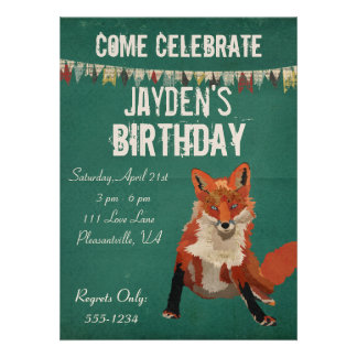 Amber Fox Retro Birthday Invitation