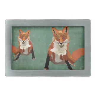 Amber Foxes Retro Belt Buckle