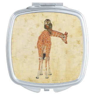 Amber Giraffe & Owl Compact Mirror
