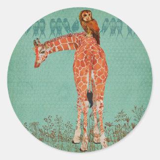 Amber Giraffe & Owl Feathers Classic Round Sticker