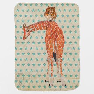 Amber Giraffe & Owl Stars Baby Blanket