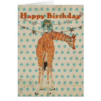 Amber Giraffe & Teal Owl Birthday Card