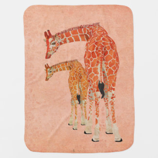 Amber Giraffes Pale Pink Baby Blanket