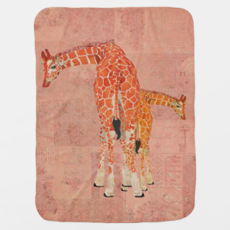 Amber Giraffes Pink Baby Blanket