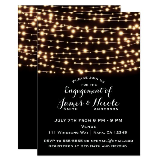 Amber Glow String Lights Rustic Engagement Party Card