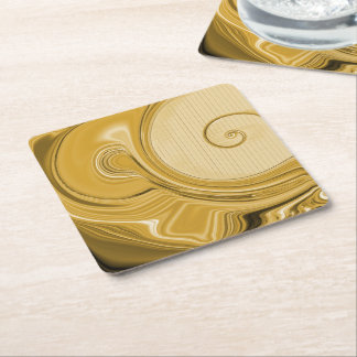 Amber Gold Snails Modern Pattern Square Paper Coaster