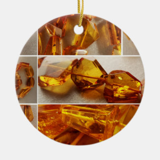 Amber jewelry collage christmas ornament