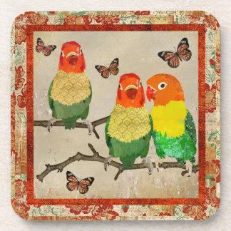 Amber Love Birds Butterflies Cork Coaster