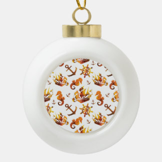 Amber nautical pattern custom background color ceramic ball christmas ornament
