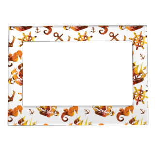 Amber nautical pattern custom background color magnetic frame