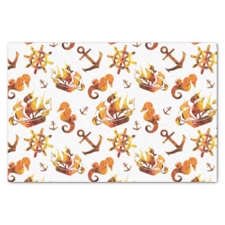 Amber nautical pattern custom background color tissue paper