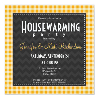 Amber Orange Gingham Housewarming Party 13 Cm X 13 Cm Square Invitation Card