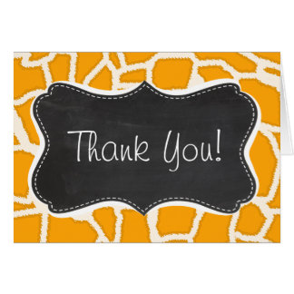 Amber Orange Giraffe Animal Print; Chalkboard Card