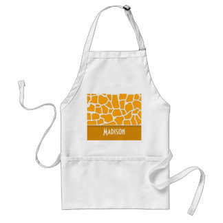 Amber Orange Giraffe Print; Personalized Adult Apron