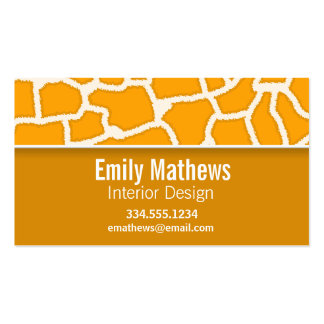 Amber Orange Giraffe Print; Personalized Double-Sided Standard Business Cards (Pack Of 100)