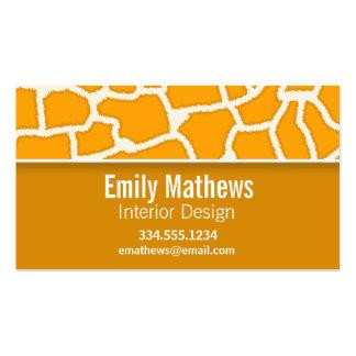 Amber Orange Giraffe Print; Personalized Business Card Template