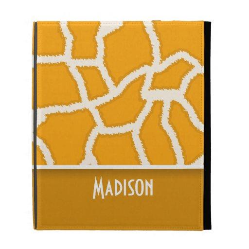 Amber Orange Giraffe Print; Personalized iPad Folio Covers
