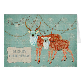 Amber Ornate Deer Christmas Card