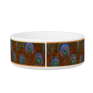 Amber Peacock Feathers Pet Bowls