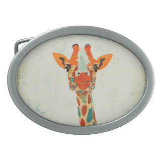 Amber Peeking Giraffe Belt Buckle