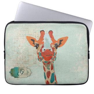 Amber Peeking Giraffe Monogram Computer Sleeve