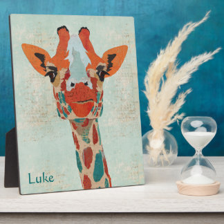 Amber Peeking Giraffe Personalized Plaque