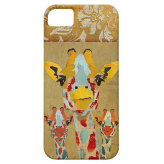 Amber Peeking Giraffes Gold Damask  iPhone Case