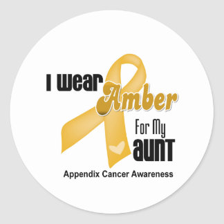 Amber Ribbon For My Aunt - Appendix Cancer Round Stickers