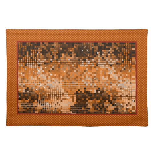 Amber Sequins Look-Disco Ball Pattern Placemat
