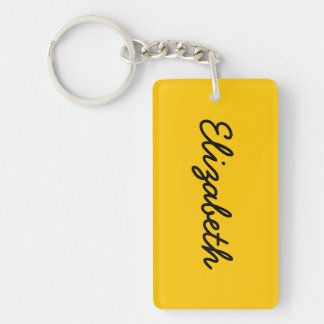 Amber Solid Color Double-Sided Rectangular Acrylic Key Ring