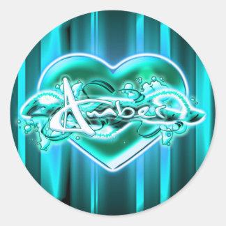 Amber Round Sticker