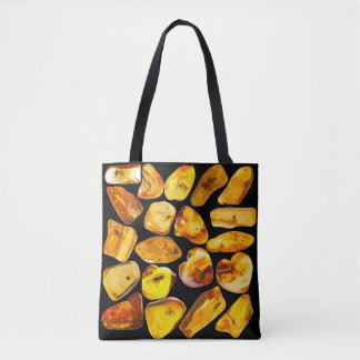 Amber stone inclusions tote bag