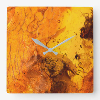 Amber stone texture background square wall clock